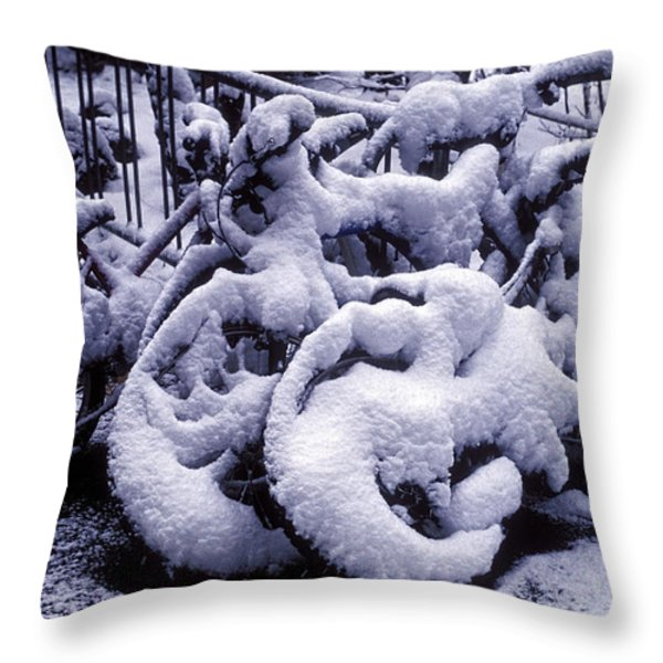 Bicycles Covered With Snow Throw Pillow by Garry Gay