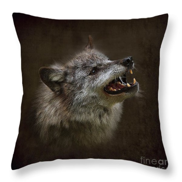 Big Bad Wolf Throw Pillow by Louise Heusinkveld