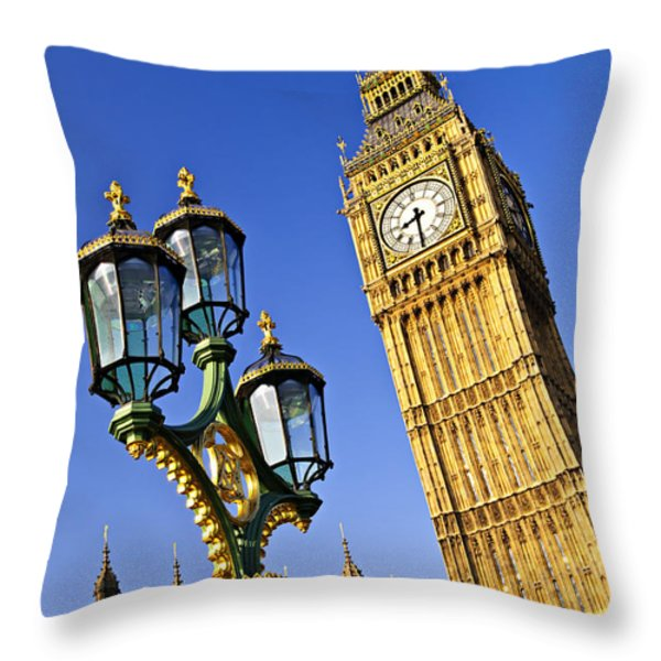 Big Ben And Palace Of Westminster Throw Pillow by Elena Elisseeva