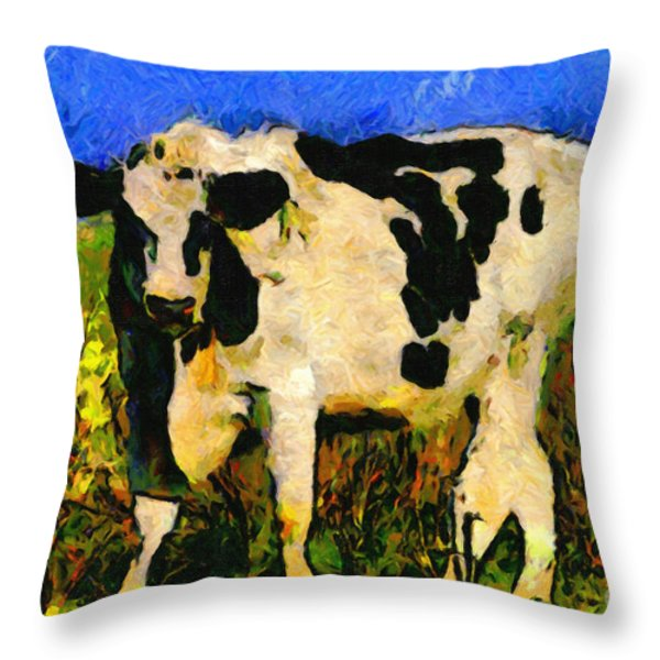 Big Bull 2 . 7D12437 Throw Pillow by Wingsdomain Art and Photography