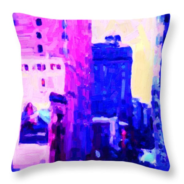 Big City Blues Throw Pillow by Wingsdomain Art and Photography