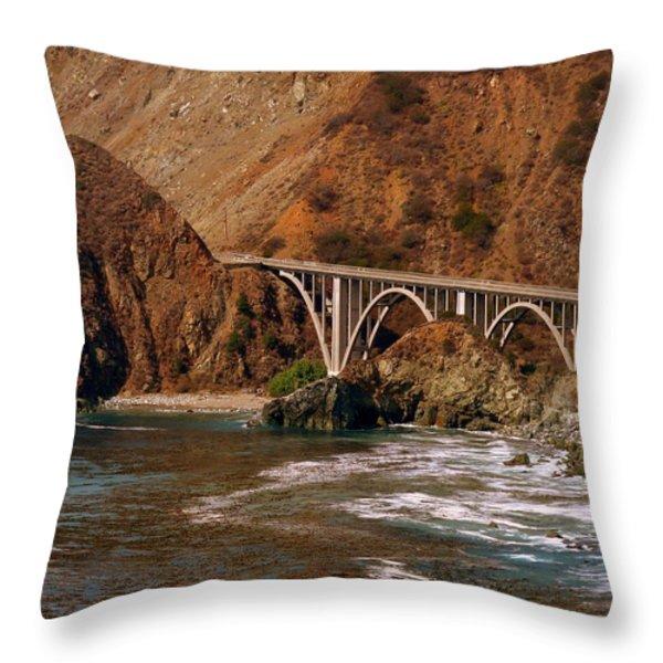 Big Creek Bridge Close Throw Pillow by Jeff Lowe