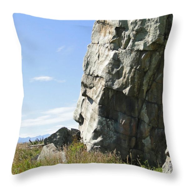 Big Rock Indian Chief Throw Pillow by Al Bourassa