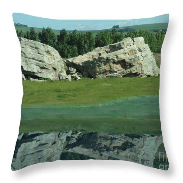 Big Rock Reflection Throw Pillow by Al Bourassa