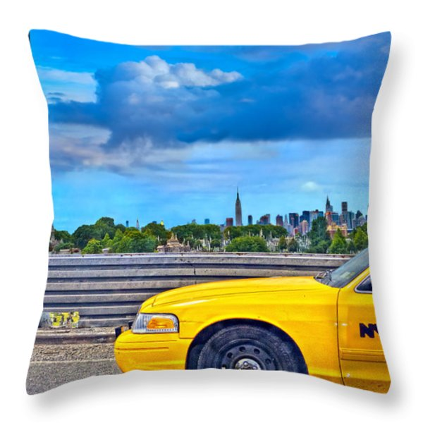 Big Yellow Taxi Throw Pillow by Marianne Campolongo