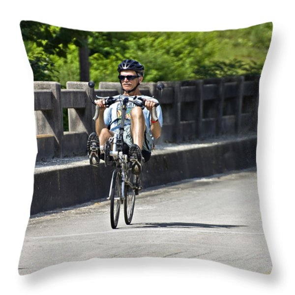 Bike Ride Across Georgia Throw Pillow by Susan Leggett