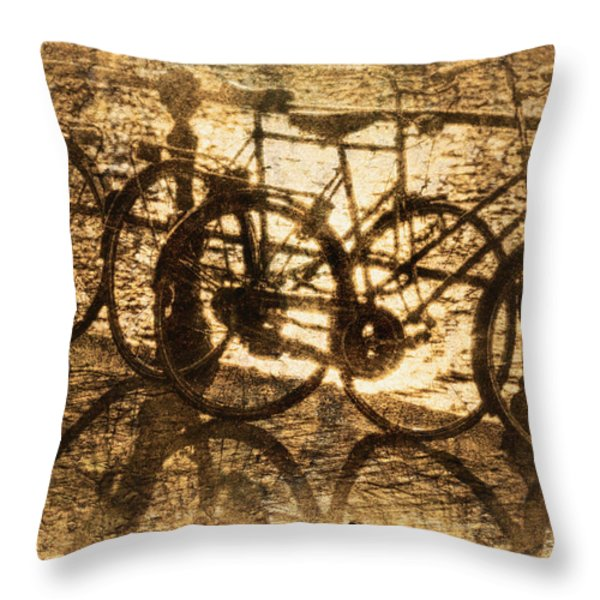 Bikes On The Canal Throw Pillow by Skip Nall