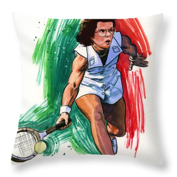 Billie Jean King Throw Pillow by Ken Meyer jr