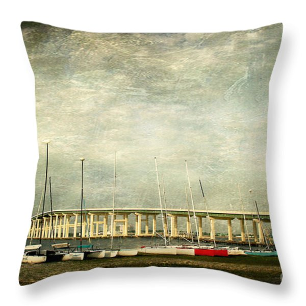 Biloxi Bay Bridge Throw Pillow by Joan McCool