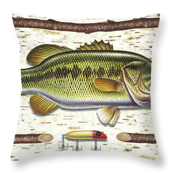 Birch Bass Throw Pillow by JQ Licensing