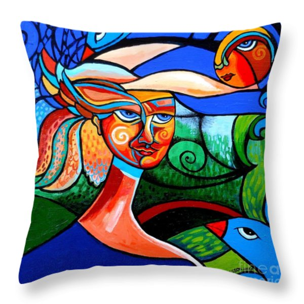 Bird Lady Throw Pillow by Genevieve Esson