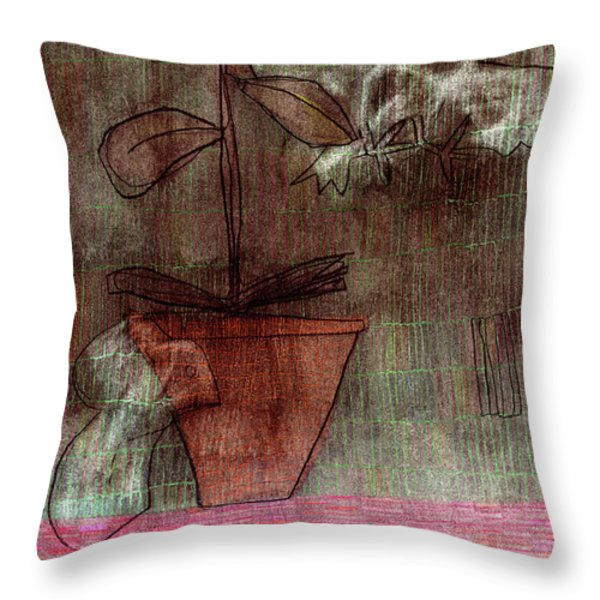 Bird Mouse and Plant Throw Pillow by Anon Artist