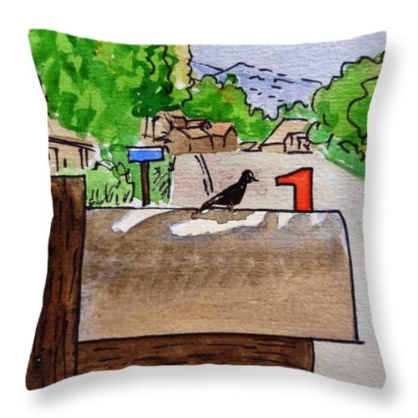 Bird On The Mailbox Sketchbook Project Down My Street Throw Pillow by Irina Sztukowski