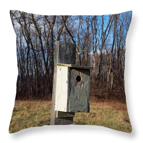 birdhouse on a pole Throw Pillow by Robert Margetts
