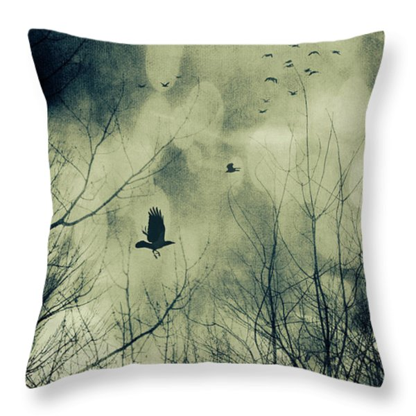 Birds in flight against a dark sky Throw Pillow by Sandra Cunningham