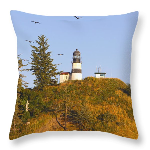 Birds In Flight Over Cape Throw Pillow by Craig Tuttle