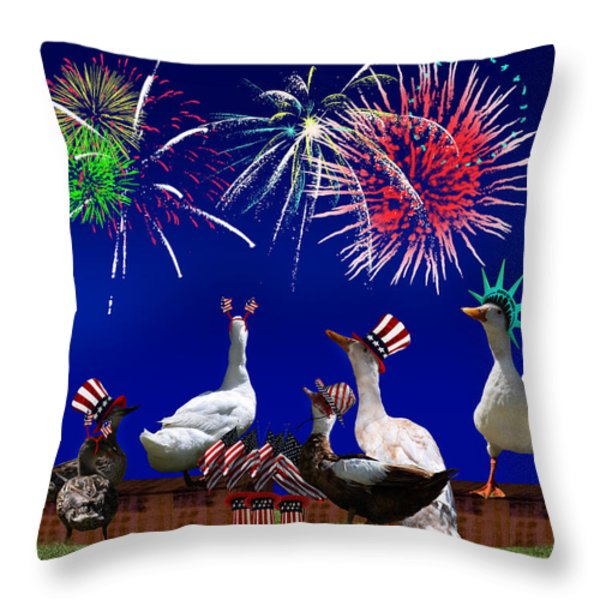 Birds of a Feather Celebrate Freedom Throw Pillow by Gravityx Designs