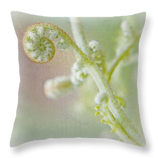 Birth Of A Fern Throw Pillow by Bonnie Bruno