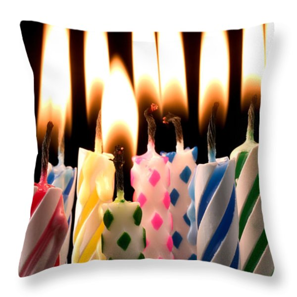 Birthday candles Throw Pillow by Garry Gay