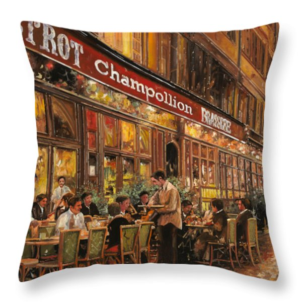 Bistrot Champollion Throw Pillow by Guido Borelli