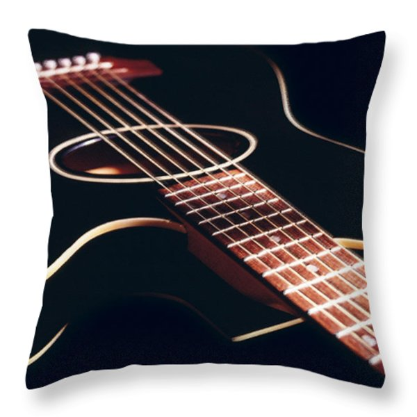Black Acoustic Guitar Throw Pillow by Mike McGlothlen