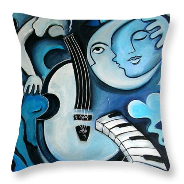 Black And Bleu Throw Pillow by Valerie Vescovi