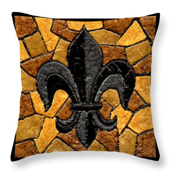 Black And Gold Triple Fleur De Lis Throw Pillow by Elaine Hodges