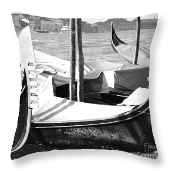 Black And White Gondolas Venice Italy Throw Pillow by Rebecca Margraf