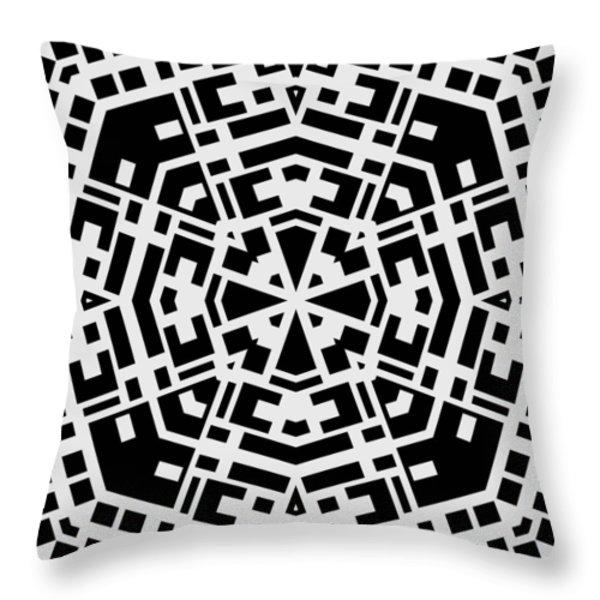 Black And White Kaleidoscope Throw Pillow by David G Paul