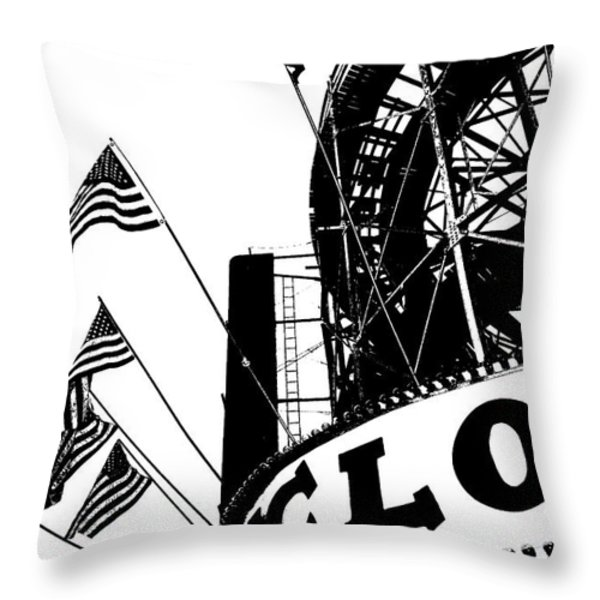 Black and White Roller Coaster Cyclone Throw Pillow by ArtyZen Studios