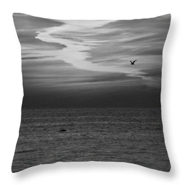 Black and White Sunset Throw Pillow by Aimee L Maher Photography and Art