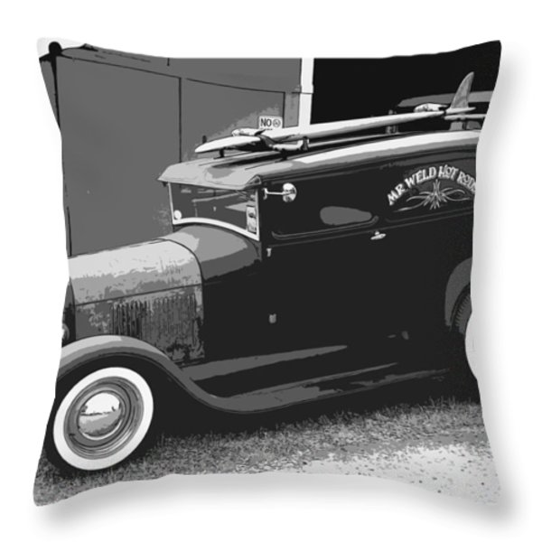 Black And White Surf Rod Throw Pillow by Steve McKinzie