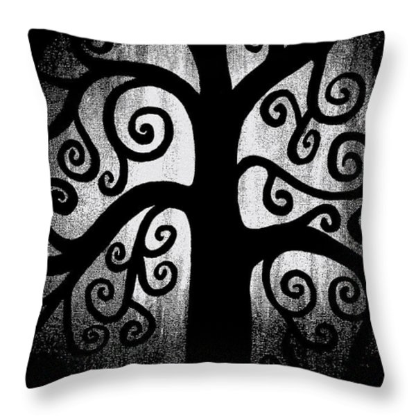 Black and White Tree Throw Pillow by Angelina Vick