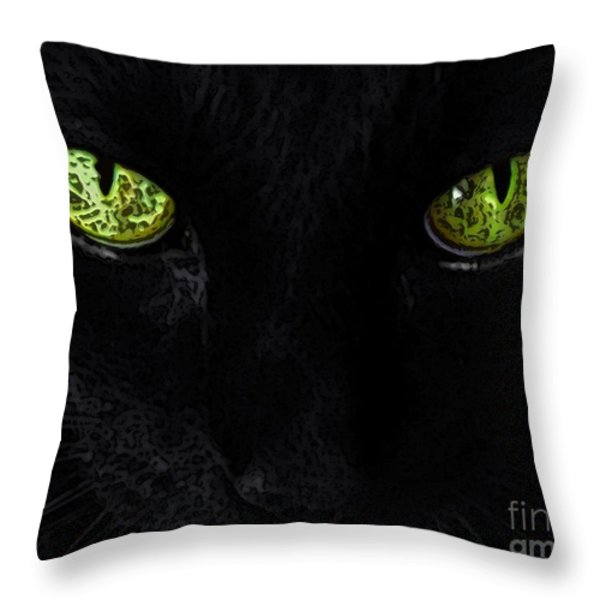 Black Cat Mystique Throw Pillow by Dale   Ford