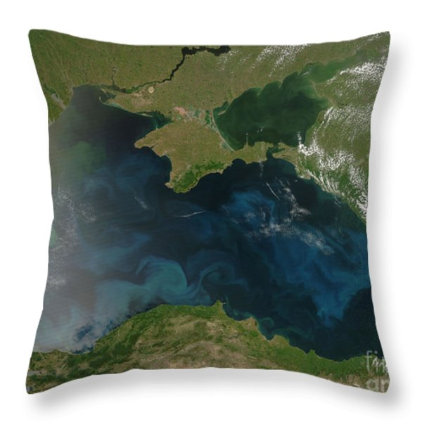 Black Sea Phytoplankton Throw Pillow by NASA