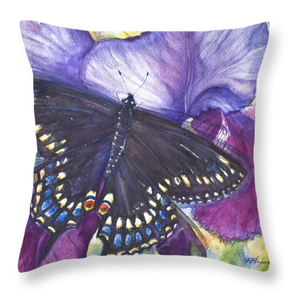 Black Swallowtail Butterfly Throw Pillow by Patricia Allingham Carlson