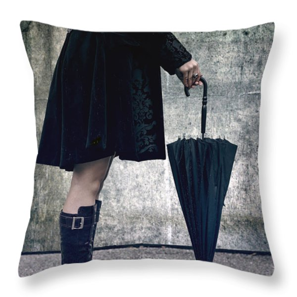 black umbrellla Throw Pillow by Joana Kruse