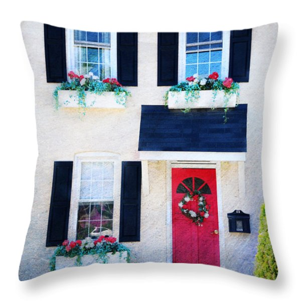 Black Window Shutters with Flowers Throw Pillow by Paul Ward