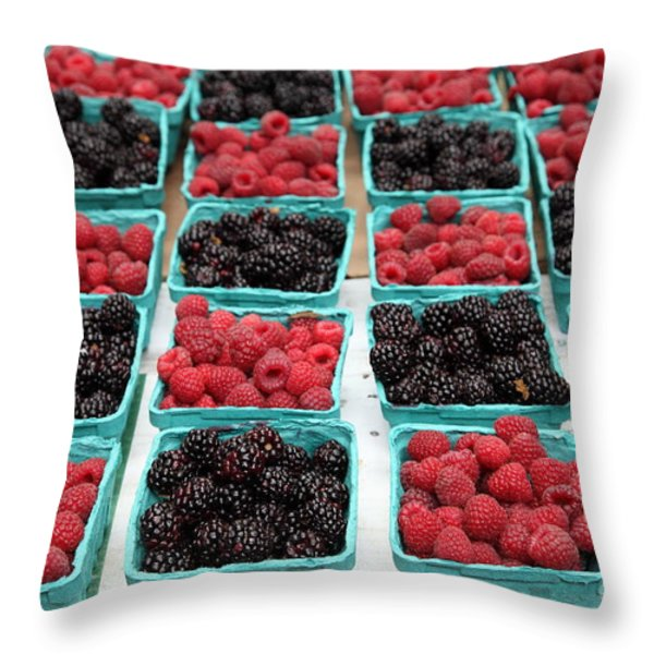 Blackberries and Rasberries - 5D17827 Throw Pillow by Wingsdomain Art and Photography