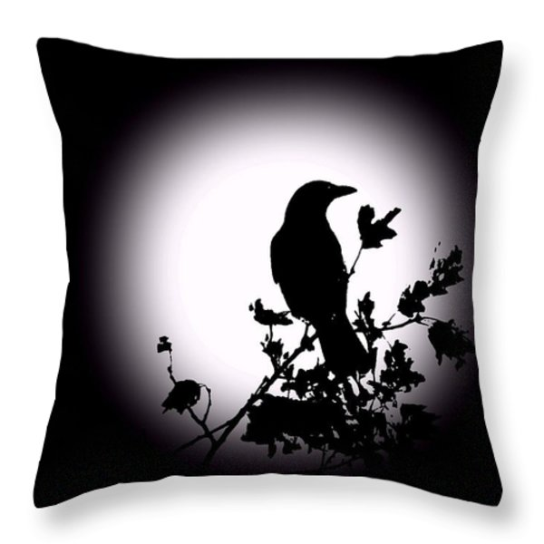Blackbird in Silhouette  Throw Pillow by David Dehner