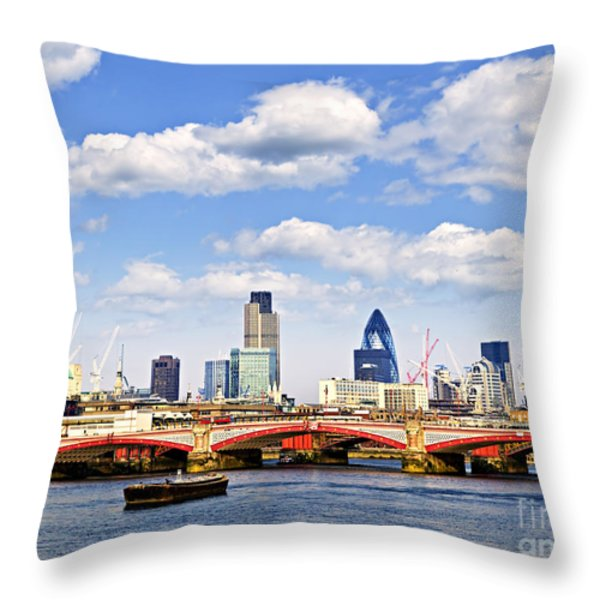 Blackfriars Bridge with London skyline Throw Pillow by Elena Elisseeva