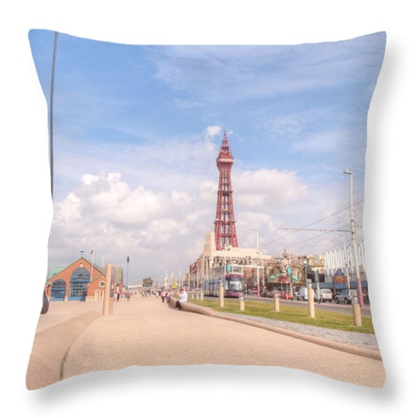 Blackpool Tower And Oar Throw Pillow by Sarah Couzens