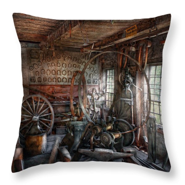 Blacksmith - That's a lot of Hoopla Throw Pillow by Mike Savad