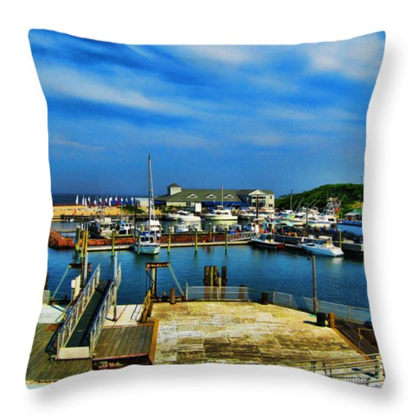 Block Island Marina Throw Pillow by Lourry Legarde
