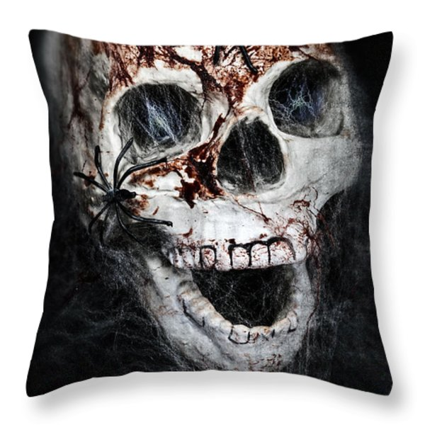 bloody skull Throw Pillow by Joana Kruse