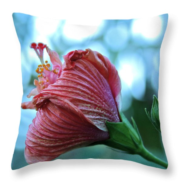 Blossoming Pink Hibiscus Flower Throw Pillow by Karon Melillo DeVega