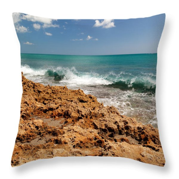 Blowing Rocks Jupiter Island Florida Throw Pillow by Michelle Wiarda