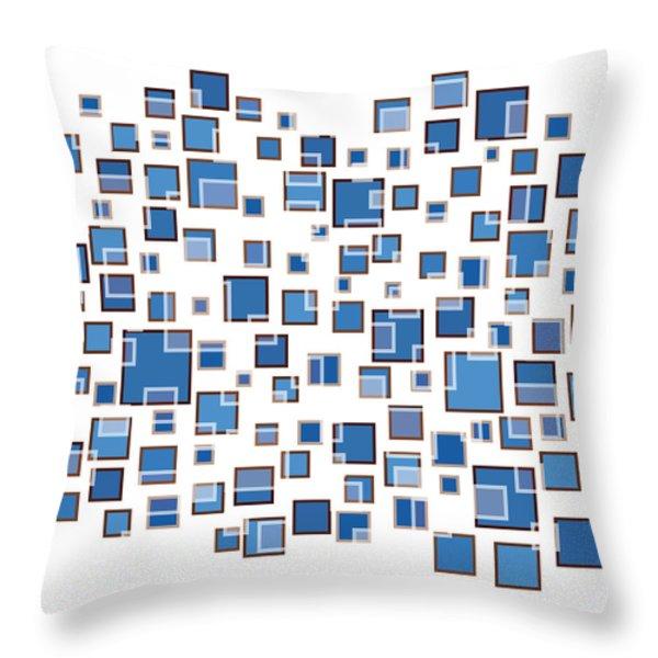 Blue Abstract Rectangles Throw Pillow by Frank Tschakert