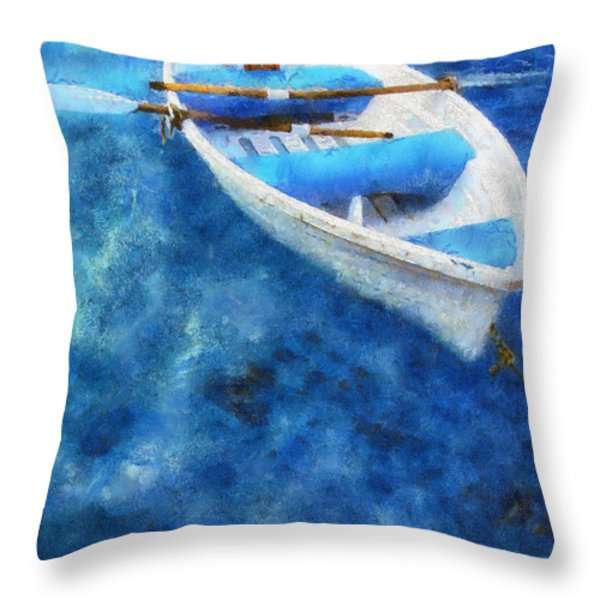 Blue and White. Lonely Boat. Impressionism Throw Pillow by Jenny Rainbow