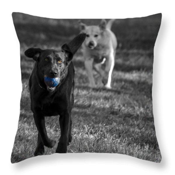 Blue Ball Throw Pillow by Jean Noren